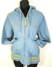 BCBG Maxazria Womens Hoodie Jacket Size XL Hazel & Gold Foiled Zip Up Sweatshirt