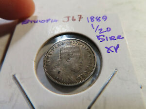 J67 Ethiopia 1889 1/20 Birr XF