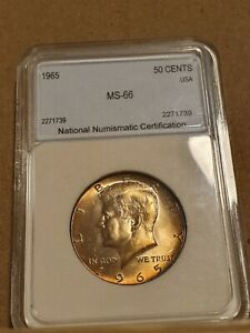 1965 Half Dollar Kennedy 50 Cent US Coin 40% Silver High Grade