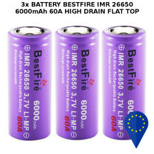 3x BATTERY BESTFIRE IMR 26650 6000mAh 60A 3.7v RECHARGEABLE BATTERIA FLAT TOP