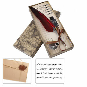 Calligraphy Feather Dip Quill Pen Writing Ink Set Stationery Gift Box w/ 5 Nibs