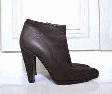 PRADA dark chocolate brown leather zip up high heel ankle boots UK 5 / EU 38