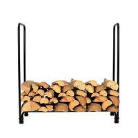 4-Foot Firewood Log Rack Outdoor Metal Fire Wood Home Patio Storage Black