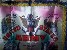 ORIGINAL US ARMY SOUVENIR WIFE PILLOW TOP-FRINGED EDGE-1940-50'S-FRINGED