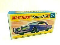 Matchbox Lesney  Superfast No 22 PONTIAC SPORTS Empty Repro Box style G