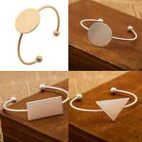 Fashion Women Gold Silver Punk Geometric Bangle Open Cuff Bracelet Jewelry Gift