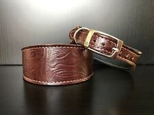 S/M Leather Dog Collar LINED Greyhound Whippet Lurcher MAHOGANY FLORAL PATTERN