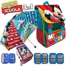 Zaino Scuola Estensibile Disney Mickey Kit Completo + Ombrello e Astuccio 3 ZIP