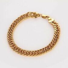 "3/5"" Link Charm Chain Fashion Jewelry Men's Bracelet 18K Yellow Gold Filled 8"