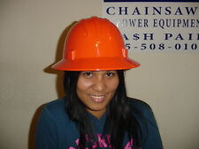 Safety Protective Hard Hat Helmet Full Brim Safety Orange Ratchet Style New