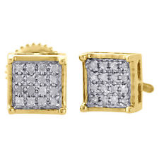 10K Yellow Gold Diamond Pave Studs Mini 6mm 4 Prong Square Earrings 0.10 Ct.