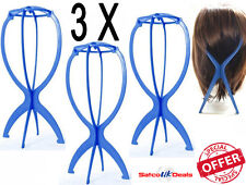 3X Display Wig Stand Foldable Tool Mannequin Dummy Head Hat Cap Hair Holder Blue