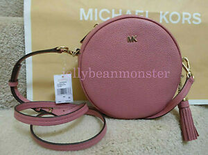 MICHAEL KORS Canteen Round Leather Medium Crossbody Messenger Bag Rose Pink NEW