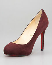 100% AUTHENTIC NEW WOMEN LOUBOUTIN MISS CLICHY 140 SUEDE ROYAL HEELS/PUMPS US 10