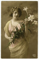 Circa 1913 Pretty Young LOVELY LILY LADY hand tinted antique photo postcard