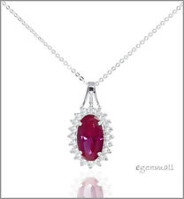 Lab Ruby In Sterling Silver Pendant Necklace #90014