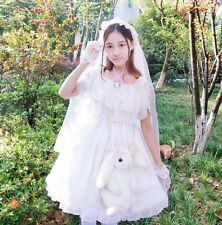 Lolita Girls White Wedding Princess Dress Falbala Short Sleeve One Piece Dress