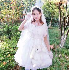 Lolita Girls White Wedding Princess Dress Falbala Short Sleeve One Piece Dress