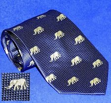 LUXURY GIORGIO ARMANI ROYAL BLUE JACQUARD CREAM ELEPHANT FOULARD SILK NECK TIE