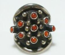 Dot Womens Ring Band Size 6.5 Sterling Silver Navajo Coral Cabochon Dome Shield