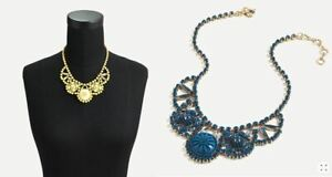 New J Crew Women Beaded Yellow Blue Flower Radiant Blooms Statement Necklace