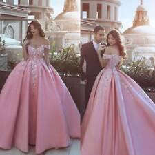 Boho Pink Wedding Dresses Bridal Ball Gown Off Shoulder Sweetheart Neck Vintage