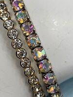 Ladies Women's Vintage Bracelet Set 2 Ab Silver Gold  Round Rhinestone Flex