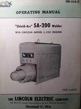 Lincoln Sa 200 Short Hood 1955 S 6090 Dc Welder Owner Parts Amp Service 2 Manuals