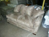 Pottery Barn Hollis SECTIONAL SOFA RIGHT ARM LOVESEAT everyday suede wheat NEW