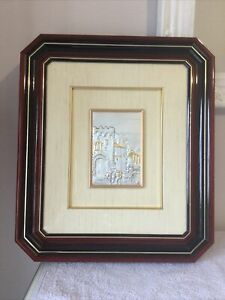 Vintage Italian 925 Silver Embossed/Etched Framed Picture ~ Signed
