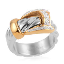 AUSTRIAN WHITE CRYSTAL STAINLESS STEEL ION BOND YELLOW GOLD BUCKLE RING 7.5