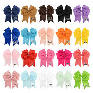 """6"""" Baby Girls kids Ribbon 6 inch cheer Hair Bow clip Quality Bows School Clips"""