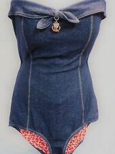 JUICY COUTURE Betty Jean Bandeau Maillot Stretch Denim Swimsuit   L