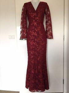 Elle Zeitoune Formal Wedding Party Dress V Neck Lace Sequin Split Sleeve Size 8
