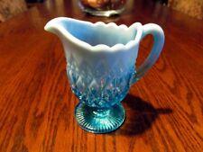 Victorian Davidson Blue Pearline Glass Stemmed Jug c1893
