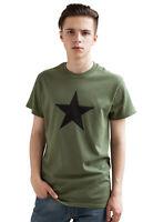 Black Star T Shirt Minimalist Retro Geometric Graphic Vintage Design Khaki Tee