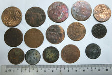 15 Netherlands Dutch East India Company VOC & Indies 1 cent, 1/2 stuiver coins