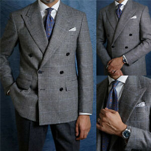 Plaid Formal Woolen Men Suits Jacket Casual Double Breasted Party Evening Coat