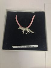 Fox PP-A23 Pewter Pendant on a PINK CORD Necklace