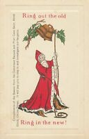 Santa Claus Rings~Out the Old~& Rings in the New~Antique Christmas Postcard-m923