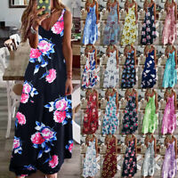 Womens CAMI Maxi Holiday Ladies Floral Sundress Loose Pullover Long Slip Dress