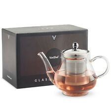 VonShef Teapot Glass 750ml Stainless Steel Infuser Filter Loose Tea Herbal
