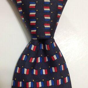 HERMES 7142 FA Men's 100% Silk Necktie FRANCE Luxury FLAGS Blue/Red/White GUC