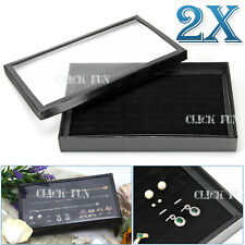 2x 100 Slots Jewelry Velvet Pad Earrings Rings Necklaces Display Tray Holder Box