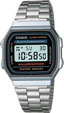 Casio Uhr A168WA-1YES Retro Digital Herren Damen Unisex Edelstahl Silber Neu