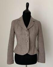 Ann Taylor Petite 4P Tan peplum Tulip jacket blazer suit sport coat Career