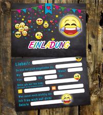 10 Einladungskarten Geburtstagskarten, Partykarten für Jungs u. Mädchen, EMOJI