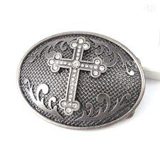 Silver Metal Oval Crystal Celtic Templar Cross Mens Womens Vintage Belt Buckle