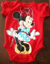 Disney Baby Newborn 0-3 Months Red Minnie Mouse One-Pc Tee w Puffy Sleeves-New