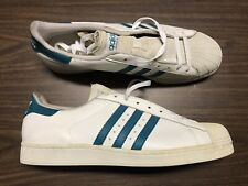 Vintage Deadstock Adidas Superstar Shell Toes Low White Green Sz 14